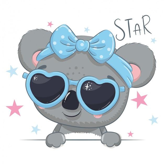 Illustrazione animale con koala ragazza carina con gli occhiali.