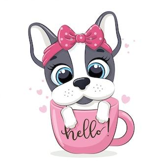 Illustrazione animale con simpatico cagnolino in tazza.