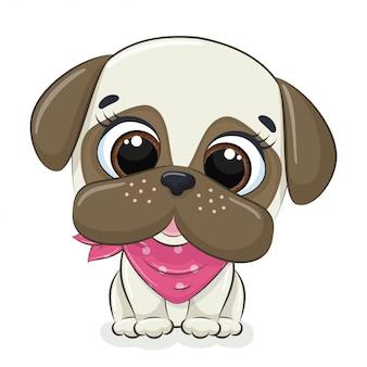 Illustrazione animale con simpatico cagnolino. Vettore Premium