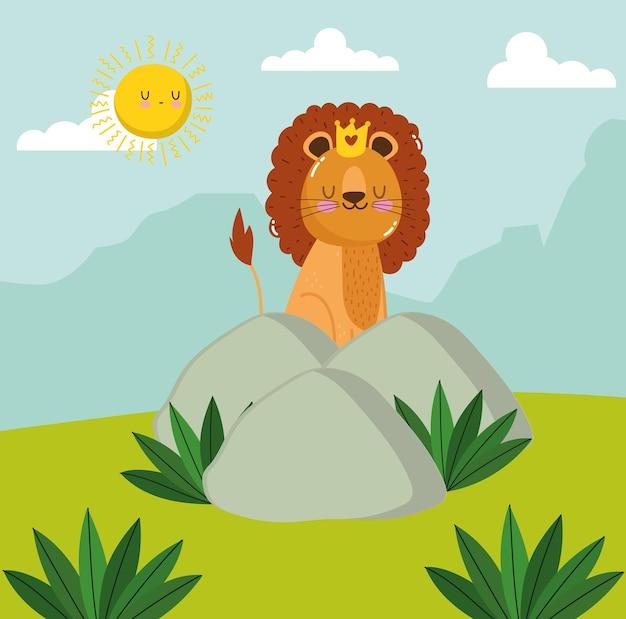 Cartone animato animale re leone su pietra