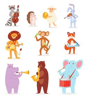 Musica animale personaggio animalista musicista leone o coniglio giocando su strumenti musicali chitarra e violino illustrazione set di elefante o scimmia con tamburo su sfondo bianco