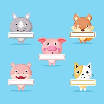 Logo del personaggio mascotte tag nome animale