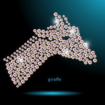 Ritratto animale realizzato con gemme di strass isolato su sfondo nero. logo animale, icona animale africano. modello di gioielli, prodotto fatto a mano. modello brillante. sagoma animale, testa di giraffa.