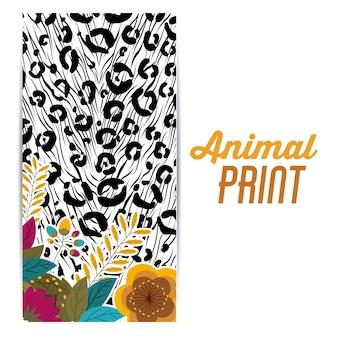 Disegno di stampa animale su sfondo bianco