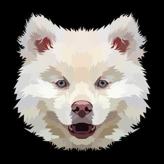 Disegno del manifesto del ritratto di pop art del cane con stampa animale