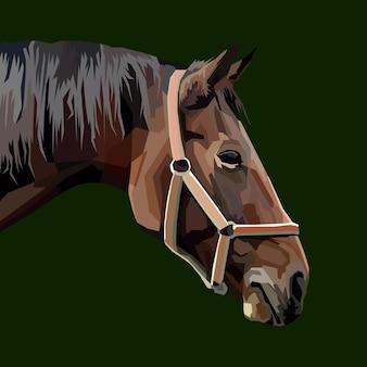 Disegno del manifesto del ritratto di pop art del cavallo della stampa animale del cavallo