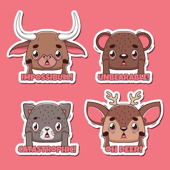 Set di adesivi di giochi di parole con animali scioccati divertenti