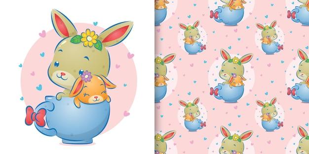 L'animale senza soluzione di continuità dei due conigli seduti sulle tazzine di caffè dell'illustrazione