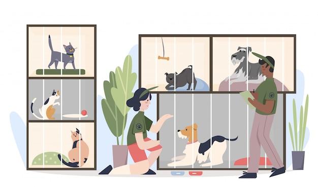 Rifugio per animali con animali domestici in gabbia. illustrazione piana del fumetto degli animali d'alimentazione dei volontari della donna e dell'uomo