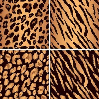 Set di motivi senza cuciture in pelle di animali imposta motivo con stampa leopardo imposta motivo con stampa tigre