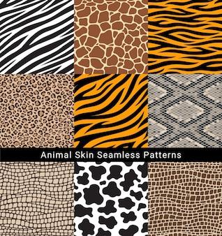 Illustrazioni vettoriali di modelli senza cuciture di pelle animale.