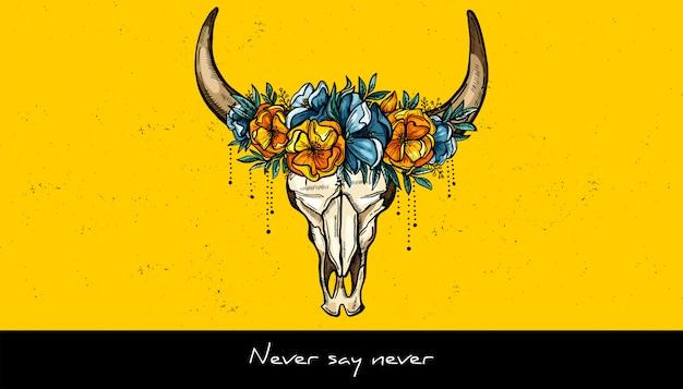 Disegno del tatuaggio teschio animale e corona di fiori.