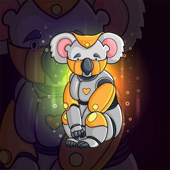 L'animale steampunk di koala esport logo design di illustrazione