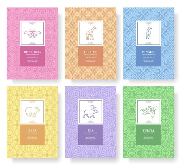 Set di carte brochure animali linea sottile. modello tradizionale esotico di flyear, riviste, poster.