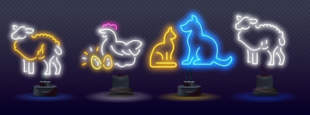 Icona del concetto di luce al neon per il benessere degli animali. icone al neon di agricoltura, bagliore al neon vettoriale