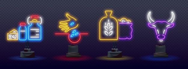 Icona del concetto di luce al neon per il benessere degli animali. icone al neon di agricoltura,