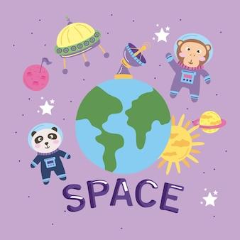 Animali astronauti spazio lettering icone