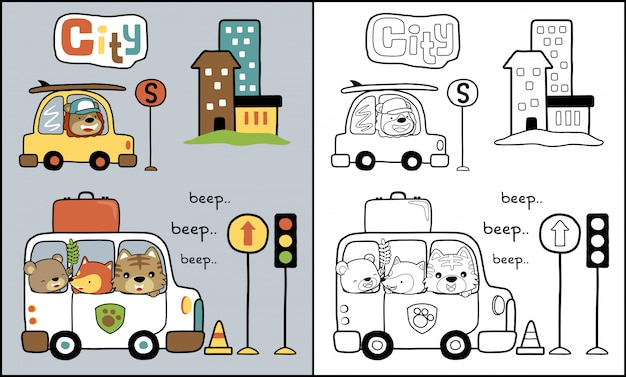 Fumetto degli animali sull'automobile nel traffico cittadino