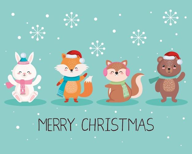 Cartoni animati di animali in buon natale stagione design, inverno e illustrazione a tema decorazione