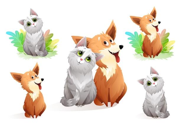 Animali gatto e cane amici insieme, raccolta di clipart di animali domestici divertenti. illustrazione vettoriale.