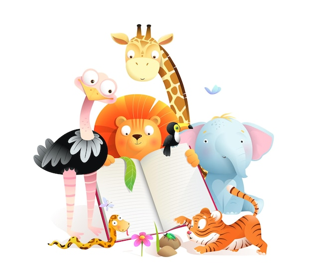 Classe di animali leggendo un libro e studiando giraffa tigre leone elefante e struzzo simpatici animali