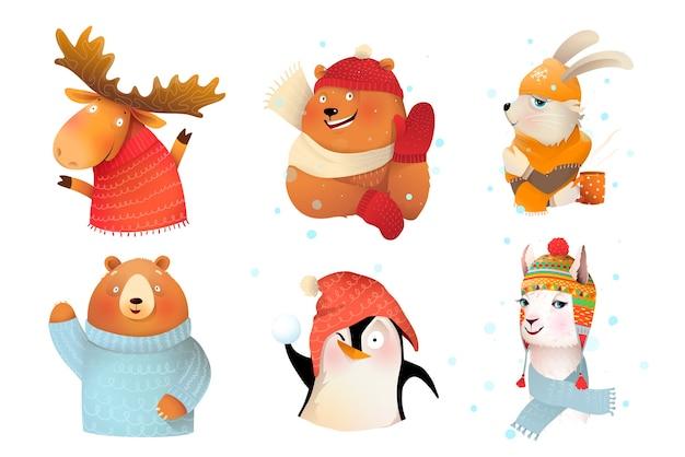 Collezione di animali che indossano vestiti caldi lavorati a maglia di lana