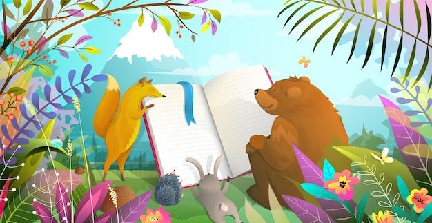 Educazione degli animali, orso volpe coniglio e riccio che leggono un grande libro nel paesaggio forestale