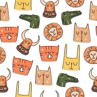 Modello senza cuciture di stile di doodle disegnato a mano degli animali su fondo bianco