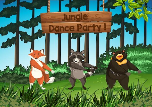 Festa di ballo nella giungla degli animali
