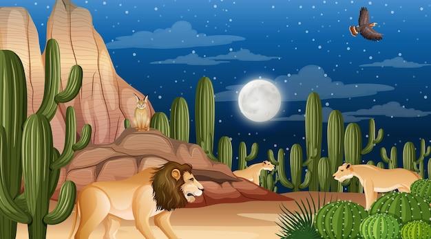 Gli animali vivono nel paesaggio della foresta desertica durante la scena notturna Vettore Premium