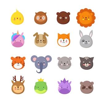 Sorrisi manga animali. emoticon animali kawaii carino per bambini. drago di unicorno, tigre di elefante, leone e gufo. insieme isolato avatar divertenti