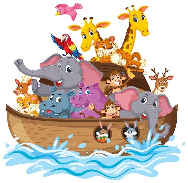 Animali sull'arca di noè con l'onda del mare isolata su fondo bianco