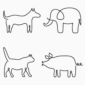 Animali un disegno a tratteggio stampa a linea continua gatto cane maiale elefante illustrazione disegnata a mano