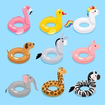 Anelli galleggianti per piscina animali. anelli da nuoto per bambini con teste di animali. salvagenti anatre e fenicotteri, unicorno e giraffa galleggianti in acqua per bambini, giocattoli da festa in mare per bambini, illustrazione vettoriale