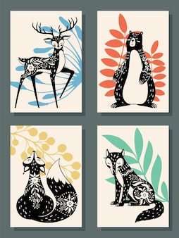 Poster di animali in stile scandinavo moderno foresta volpe orso e lupo cervo insieme vettoriale
