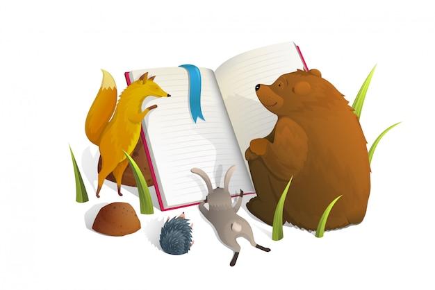 Animali che leggono l'illustrazione di stile dell'acquerello del libro