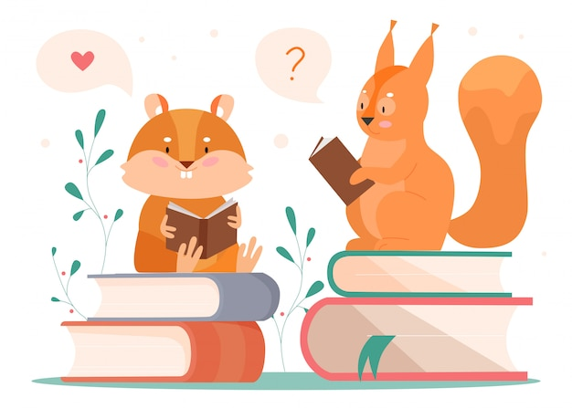 Animali che leggono illustrazione. cartoon intelligente castoro e scoiattolo booklover reader caratteri seduti sulla pila di libri, leggendo il libro di fiabe e pensando, concetto animalesco su bianco