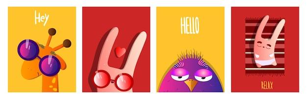 Set di animali. stile cartone animato. carte divertenti e carine con personaggi per compleanno, san valentino e altre festività