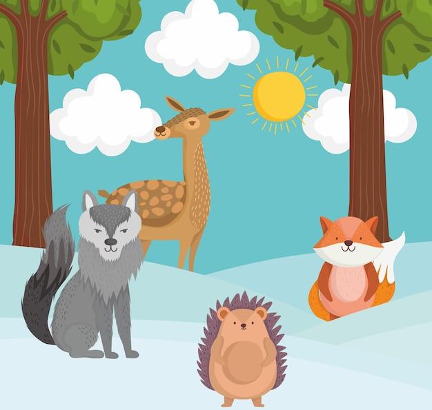 Animali sulla neve cartone animato