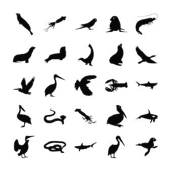 Collezione di pittogrammi animali solidi