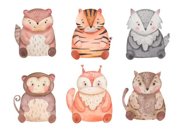 Animali tigre, scoiattolo, scimmia, giaguaro, xerus, lupo illustrazione ad acquerello