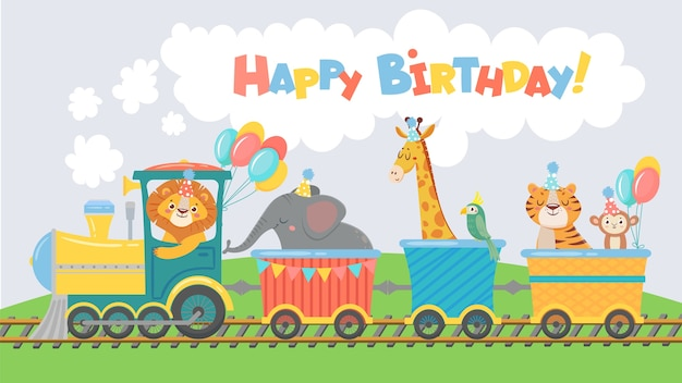 Animali sulla cartolina d'auguri del treno. buon compleanno simpatico animale in vagone ferroviario
