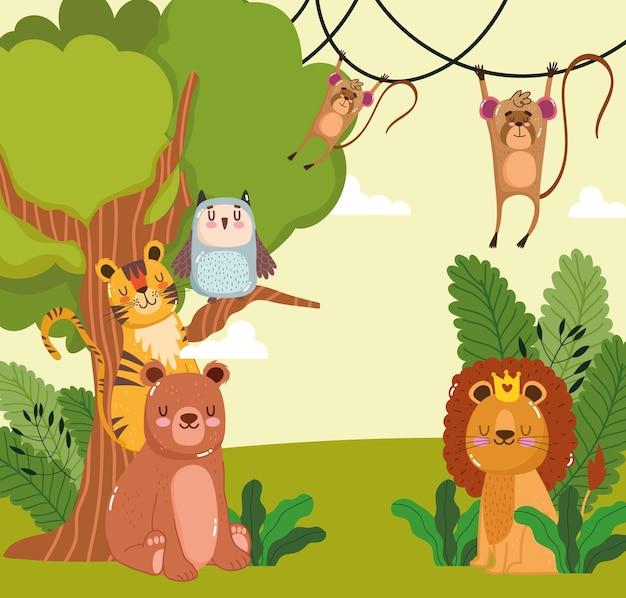 Cartone animato di animali albero natura fogliame
