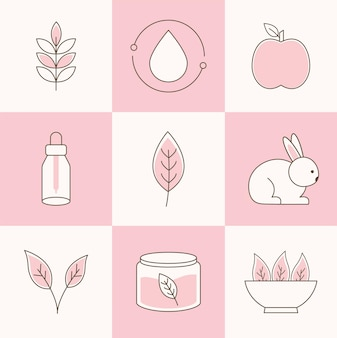 Set di animali, verdure e foglie