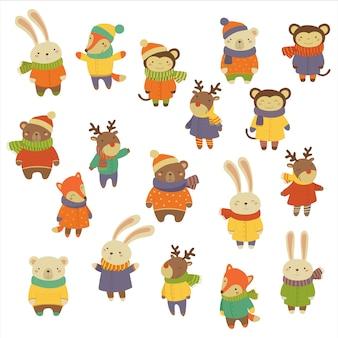 Animali che indossano vestiti caldi. impostato