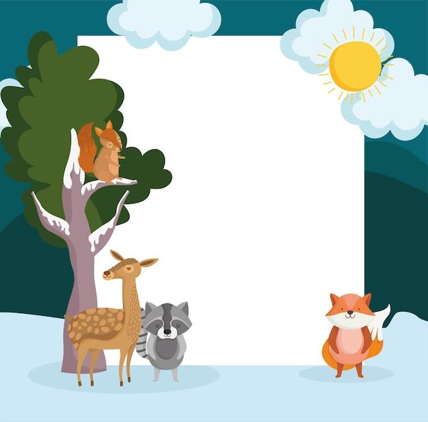 Animali inverno e lavagna bianca