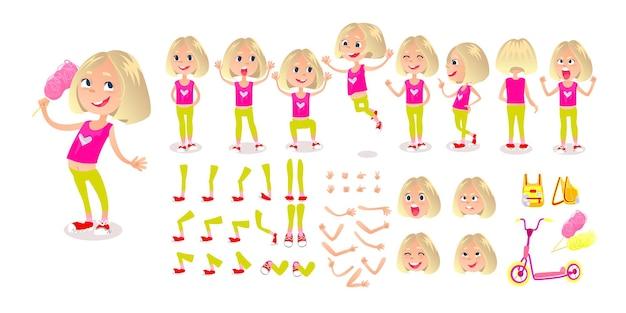 Cartone animato ragazza costruttore di personaggi imposta emozioni faccia sincronizzazione labbra pose ed emozioni