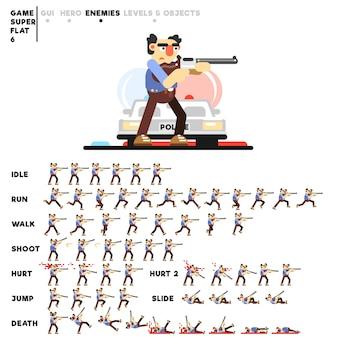 Animazione di un 80esimo criminale con una pistola per la creazione di un videogioco