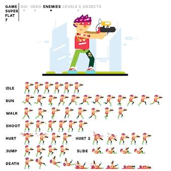 Animazione di un ragazzo futuristico avanzato con una pistola per la creazione di un videogioco