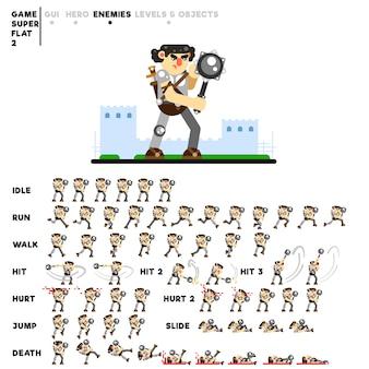 Animazione di un guerriero corazzato con una mazza per la creazione di un videogioco